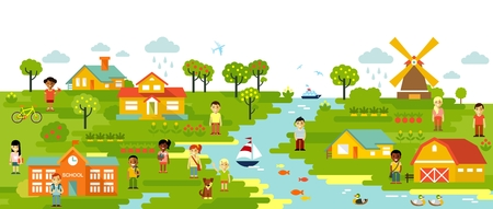 Illustration pour Garden and town village panoramic background in flat style - image libre de droit