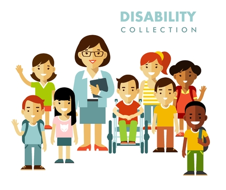 Illustration for Disabled boy in wheelchair together with school kids group and teacher isolated on white background - Royalty Free Image