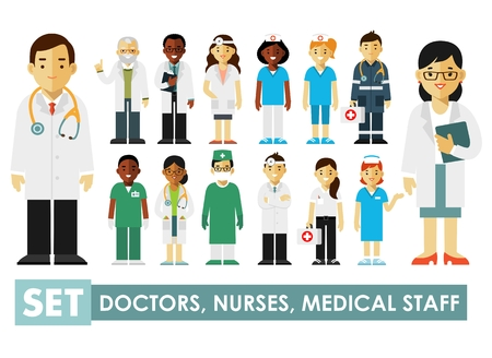 Illustrazione per Practitioner young doctors man and woman standing. Medical staff. - Immagini Royalty Free