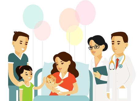 Ilustración de Happy family concept in flat style isolated on white background. Young mother with newborn baby, father, daughter, doctor and nurse in hospital ward. - Imagen libre de derechos