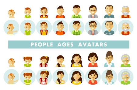 Illustration pour Set of people avatars at different ages vector illustration - image libre de droit