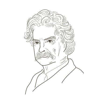 Illustration pour Mark Twain. Sketch illustration. Black and white. Vector. - image libre de droit