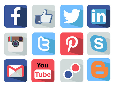 Photo for Social Media icons set Illustration most popular of the world - Royalty Free Image