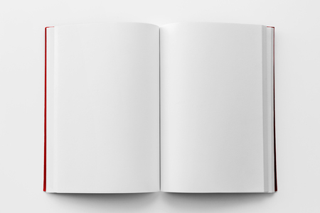 Photo pour Blank book mockup with red cover from top view - image libre de droit