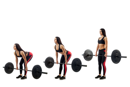 Foto de The technique of doing an exercise of deadlift with a barbell of a young sports girl on a white isolated background, three positions - Imagen libre de derechos