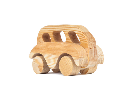 Photo for Photo of a wooden bus made of beech on a white isolated background - Royalty Free Image