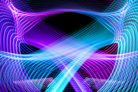 Foto de Abstract background with horizontal and vertical disruptions of blue and pink stripes, flow lines. Glitch effect background for poster, cover, concept design, banners, presentations. - Imagen libre de derechos