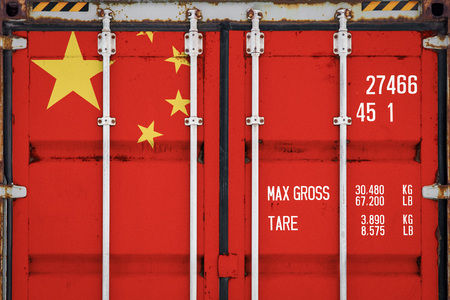 Photo pour Close-up of the container with the national flag of China. The concept of China  export-import and national delivery of goods. - image libre de droit