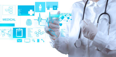 Photo pour Medicine doctor working with modern computer interface - image libre de droit