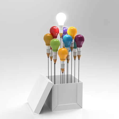 Photo pour drawing idea pencil and light bulb concept outside the box as creative and leadership concept - image libre de droit