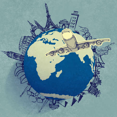 Foto de airplane traveling around the world as concept - Imagen libre de derechos