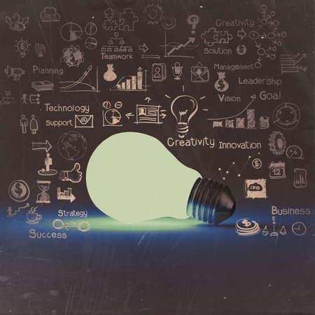 Foto de light bulb 3d on business strategy background as vintage concept - Imagen libre de derechos