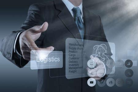 Foto de businessman hand shows logistics diagram as concept - Imagen libre de derechos