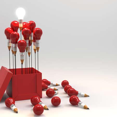 Photo pour drawing idea pencil and light bulb concept outside the box as creative and leadership concept - image libre de droit