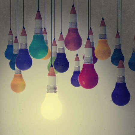 Photo for drawing idea pencil and light bulb concept creative and leadership as vintage style concept - Royalty Free Image