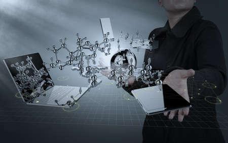 Photo pour businesswoman shows modern technology as concept - image libre de droit
