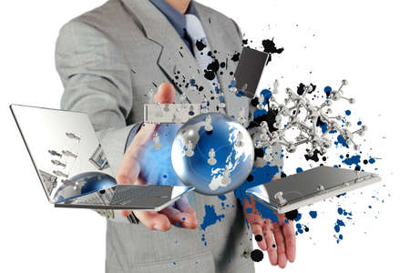 Foto de businessman shows modern technology and splash colors as concept - Imagen libre de derechos