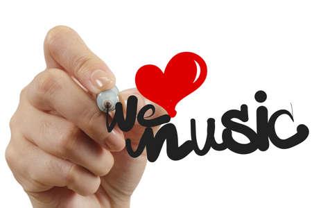 Photo pour hand drawing we love music as concept - image libre de droit