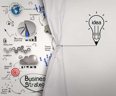 Foto de pencil lightbulb draw rope open wrinkled paper show business strategy as concept - Imagen libre de derechos