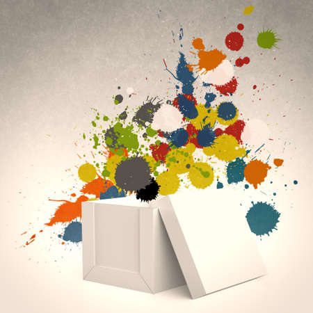 Photo for  thinking outside the box and splash colors as concept - Royalty Free Image