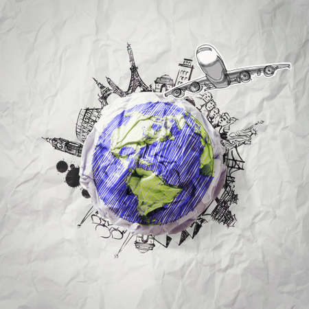 Foto de crumpled paper and traveling around the world as concept - Imagen libre de derechos