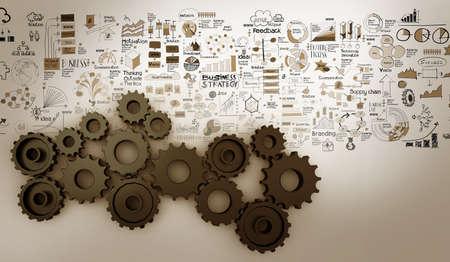 Photo pour hand drawn business strategy 3d gear to success as concept - image libre de droit