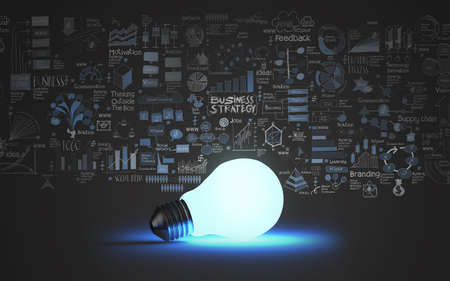 Photo pour light bulb 3d on business strategy background as concept - image libre de droit