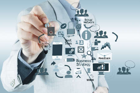 Foto de businessman hand working with new modern computer and business strategy as concept - Imagen libre de derechos