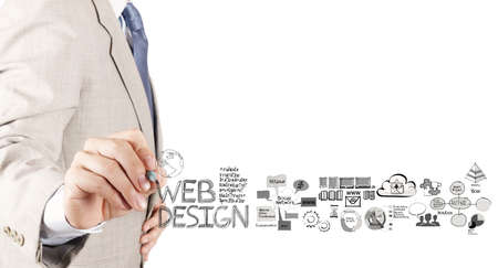 Foto de business man hand  drawing web design diagram as concept  - Imagen libre de derechos