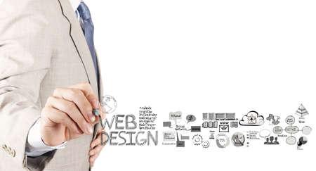 Photo pour business man hand  drawing web design diagram as concept  - image libre de droit