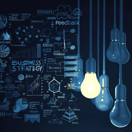 Foto de light bulb 3d on business strategy background as concept - Imagen libre de derechos