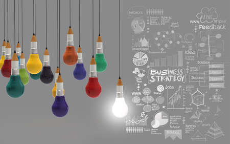 Photo pour creative design business as pencil lightbulb 3d as business design concept - image libre de droit