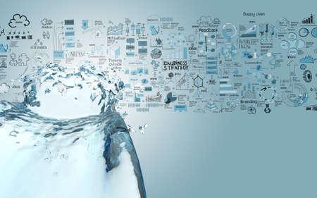 Photo pour 3D paint water color splash and hand drawn business strategy background as concept - image libre de droit