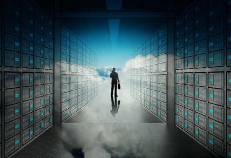 Foto de engineer business man in 3d network server room and cloud inside as concept  - Imagen libre de derechos