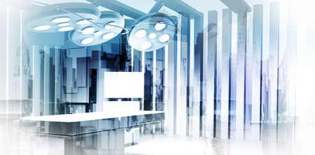 Foto de Double exposure of image abstract hospital city as medical concept  - Imagen libre de derechos