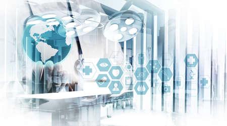 Foto de Double exposure of smart medical doctor working with abstract operating room as concept  - Imagen libre de derechos