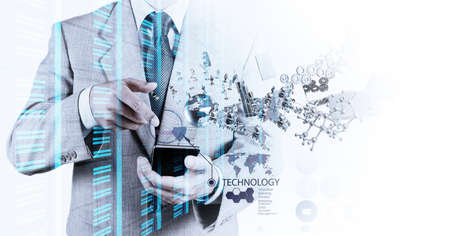 Photo pour Double exposure of businessman shows modern technology as concept - image libre de droit