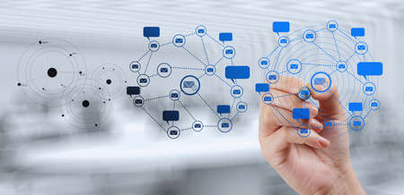 Foto de businessman working with new modern computer show social network structure as concept - Imagen libre de derechos