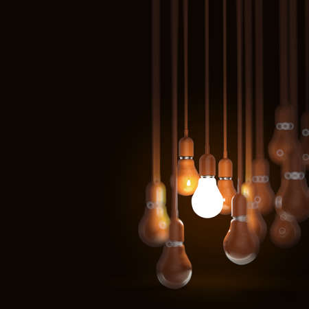 Photo for creative idea and leadership concept with 3d orange light bulb - Royalty Free Image