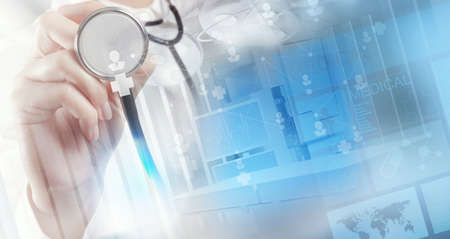 Foto de Double exposure of smart medical doctor working with operating room as concept - Imagen libre de derechos