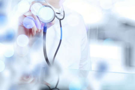 Foto de double exposure of success smart medical doctor working with abstract blurry bokeh  background as concept - Imagen libre de derechos