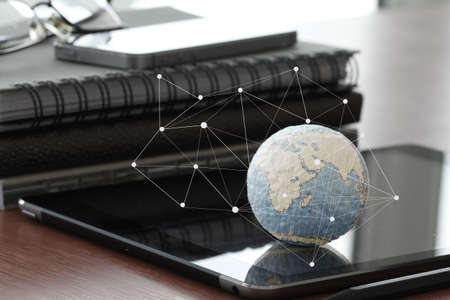 Foto de hand drawn texture globe with blank social media diagram on digital tablet computer as internet concept and bokeh exposure - Imagen libre de derechos