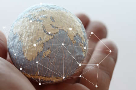Photo pour close up of businessman hand showing texture the world with digital social media network diagram concept Elements of this image furnished by NASA - image libre de droit