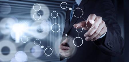 Foto de businessman hand drawing blank flow chart on new modern computer as concept - Imagen libre de derechos