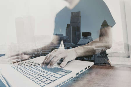Photo for Double exposure of businessman working with new modern computer - Royalty Free Image