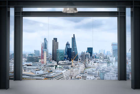 Foto de interior space of modern empty office interior with london city  - Imagen libre de derechos
