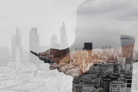 Photo for Double exposure of success businessman using digital tablet with london building and social media diagram - Royalty Free Image