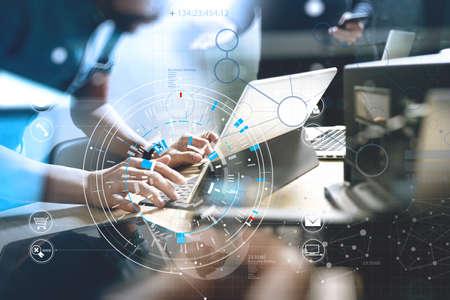 Foto de Developing programming and coding technologies. Website Team design. Cyber space content.Big data concept with VR diagram. - Imagen libre de derechos