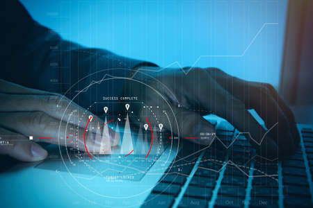 Foto für Concept of target focus digital diagram,graph interfaces,virtual UI screen,connections netwoork.Hipster finance analyst working at trendy office - Lizenzfreies Bild