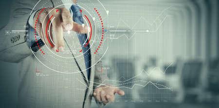 Foto de Concept of target focus digital diagram,graph interfaces,virtual UI screen,connections netwoork.Hipster finance analyst working at trendy office - Imagen libre de derechos